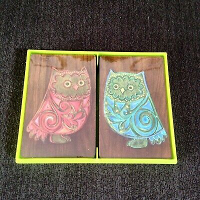 Vintage Hallmark Playing Cards Owls Double Deck Mid Century Modern Sealed
