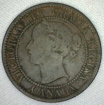 1859 Canada Large Cent Bronze Coin 1c Canadian Penny You Grade YG Narrow 9 K3