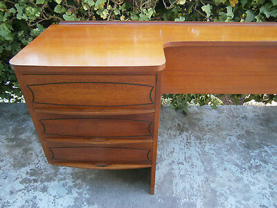 Retro Vintage Double Teak Veneer Bedhead & Floating Side Tables 1960-70's Aust
