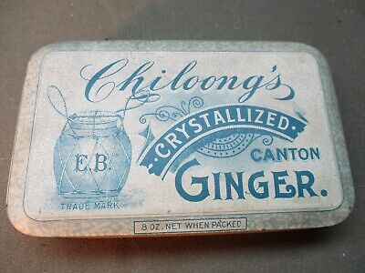 vintage old Chiloong's Crystallized GINGER advertising tin c.1910-1920s