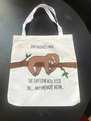 """12"""" By 12.5"""" Hand Painted Cute Canvas Bag With Handle"""