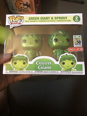 2019 SDCC Funko Pop Ad Icons Metallic Green Giant & Sprout SDCC IN-HAND