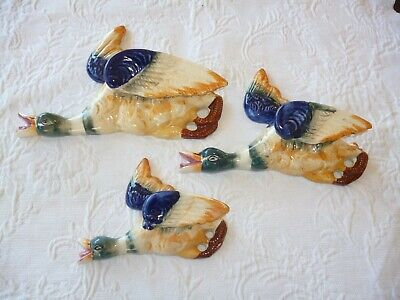 VINTAGE FLYING WALL HANGING DUCKS . C1950 s