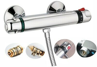 """Modern Thermostatic Exposed Bar Shower Mixer Valve Tap Chrome Bottom 1/2"""" Outlet"""