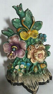 Antique Flowers Cast Iron Bookend or Doorstop Albany Foundry 1920s Floral Design