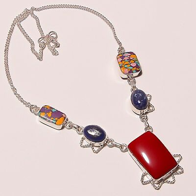 """Awesome ! Spongy Coral Lapis Silver Plated Handmade Necklace 17""""-18""""(N-285)"""