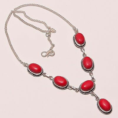 """Awesome ! Spongy Coral Gemstone Silver Plated Handmade Necklace 17-18""""(n-873)"""