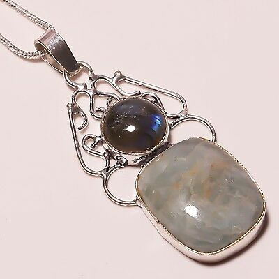 "Natural Labradorite Amazonite Silver Plated Handmade Pendant 2.5""With Chain"