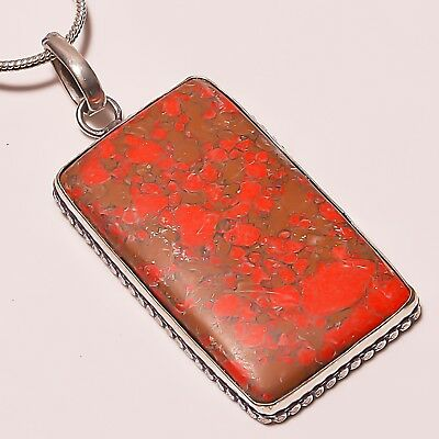 """Beautiful ! Copper Turquoise Silver Plated Handmade Pendant 2.5""""With Chain"""