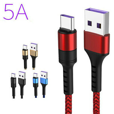 5A Super Fast USB Cable For Huawei Xiaomi Quick Charge Type C Charging Cable