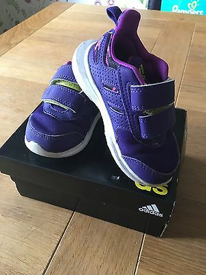 Girls Adidas Trainers Purple Size 5 Excellent Condition Boxed