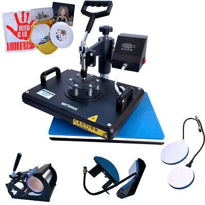 5 in 1 Heat Press Machine Sublimation 12x15inch for T-shirt Mug Cup Plate Hat US