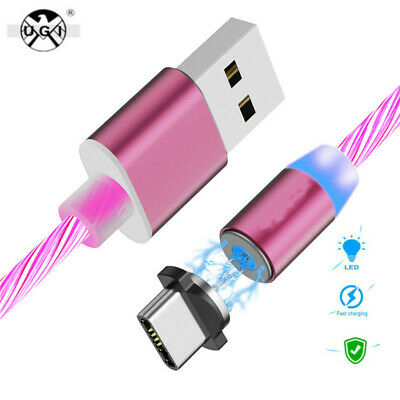 New LED Flowing  Magnetic TypeC Micro USB IOS Charger Cable For Iphone 6 7 8 XS