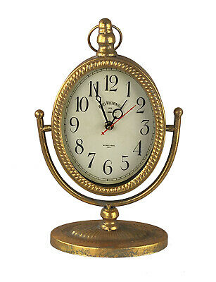 Table Clock Nostalgia Antique Vintage Floor Clock Mantel Clock Gold 32 cm Metal