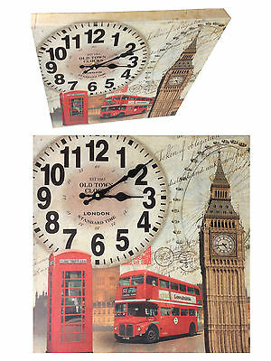 Wall Clock Country House Wooden Watch 40 x 40 cm Kitchen Modern London 2