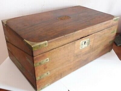 Antique Rose Wood & Flush Brass Campaign Mounts Writing Slope With Secret Draw