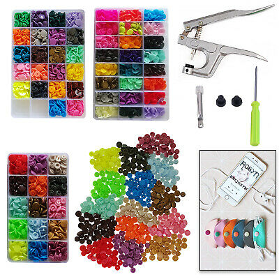 T3 T5 Plastic Kam Snaps Resin Buttons Storage Box + Plier Tool for Baby Clothes
