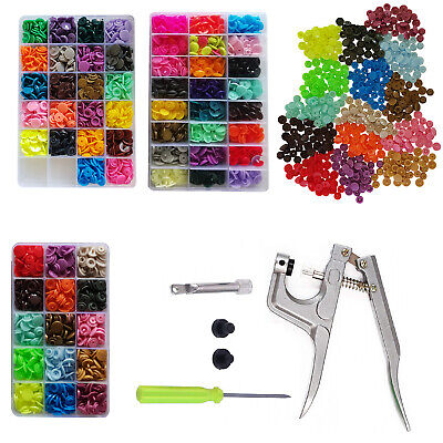 Mixed Color Kam Snaps Starter Plastic Press Poppers Fasteners with 1 Pliers Tool