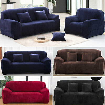 1 2 3 Seater Floral Elastic Sofa Couch Covers Velvet Stretch Slipcover Protector