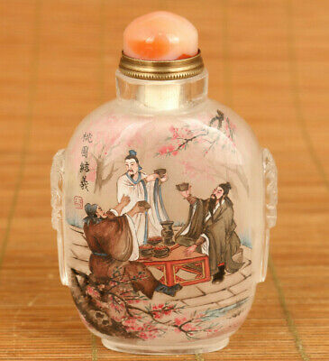 chinese rare old glass hand painting be sworn brothers statue snuff bottle gift
