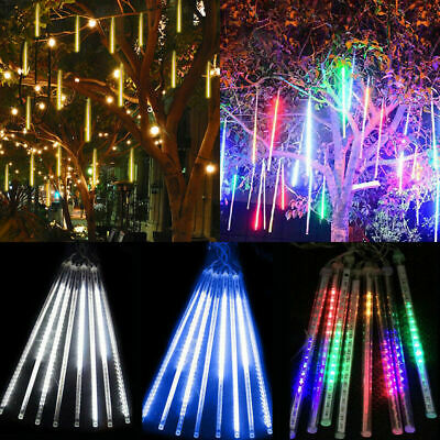 8* 30/50CM LED Meteor Shower Lights Tube Snowfall Tree Christmas Outdoor Decor