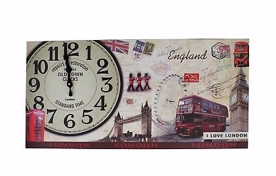 Wall Clock Country House Wooden Watch 60 x 30 cm Kitchen Modern London Nostalgia