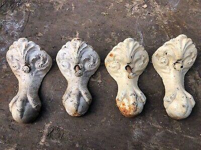 4 used vintage antique roll top cast iron bath feet ball and claw