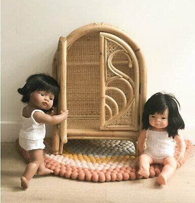 Doll's Rattan Wardrobe With 2 Rattan Doll Hangers/Pretend Play/Heirloom Toy/NEW