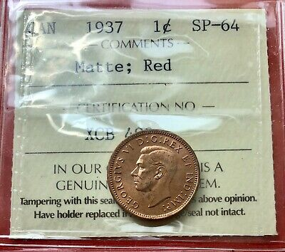 1937 Canada One Cent Penny Coin - Specimen - ICCS SP-64 Red