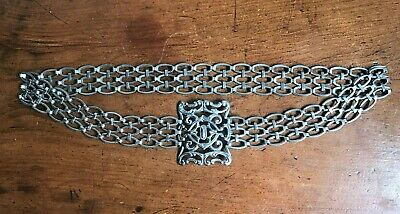 Antique late Victorian / Edwardian Silver Plated Belt & Buckle - Circa 1900