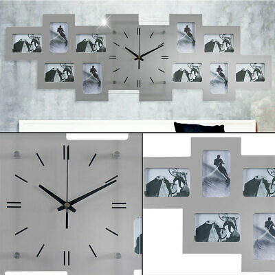 Wall Clock Photos Frame Living Room Photo Decoration Silver Time Hand Black