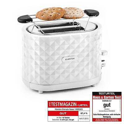 Toaster 2 tranches XXL Klarstein gril pain toast + support croissant 1000w blanc