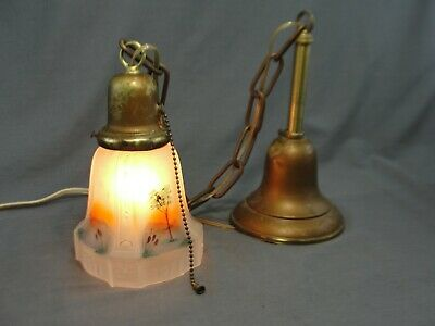 Antique Brass Hanging Light Reverse Painted Glass Shade Pull Chain Trees