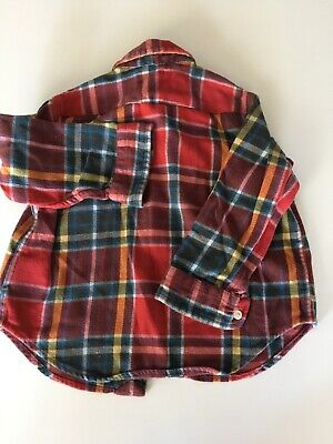 Polo Ralph Lauren Baby Infant Toddler Boy Plaid Flannel Button Down Shirt 18 Mos