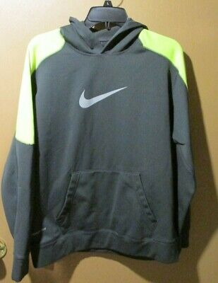 NIKE THERMA FIT Hoodie, Boys Large, Dark Gray With Light