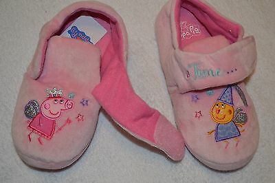 M&S Kids girls pink Peppa Pig slippers size 12 BNWT