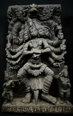 LARGE ANTIQUE SHIVA 18th/19th C. WOOD HINDU CHARIOT PANEL FROM INDIA