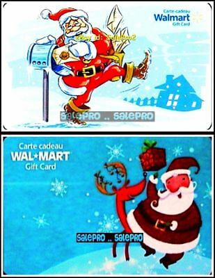 2x WALMART CHRISTMAS SANTA CLAUS DANCE MAIL DELIVERY COLLECTIBLE GIFT CARD LOT