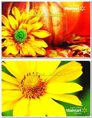 2x WALMART SPRING HALLOWEEN ORANGE YELLOW FLOWERS COLLECTIBLE GIFT CARD LOT