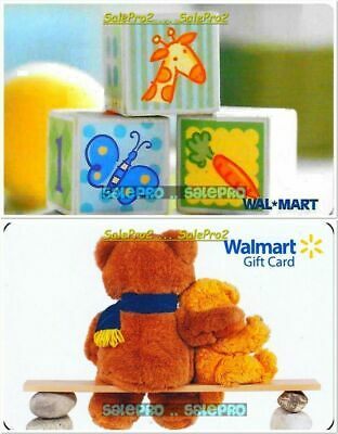 2x WALMART BABY PLAYING BOXES TEDDY BEAR HUGGING BABY COLLECTIBLE GIFT CARD LOT