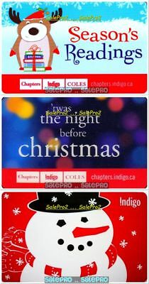 3x CHAPTERS INDIGO CHRISTMAS SNOWMAN DOG 3D LENTICULAR COLLECTIBLE GIFT CARD LOT