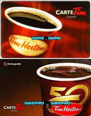 2x TIM HORTON 2014 50TH ANNIVERSARY CARTE EXPRESS RARE COLLECTIBLE GIFT CARD LOT