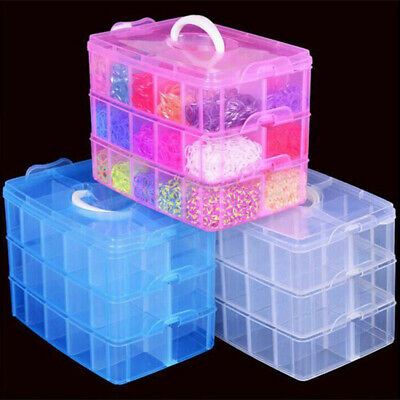 3 Layers 18 Compartments Clear Jewelry Storage Box Case Craft Organizer Grace
