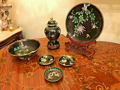 Beautiful 5 Vintage Chinese Cloisonne Vase Plate Ashtray Floral