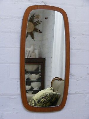 Danish Teak framed mid century wall hanging vintage mirror nicely sculptured