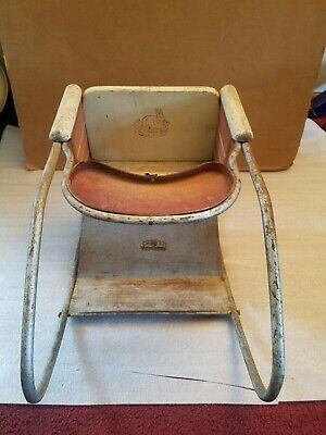 Antique Vintage Metal & Wood Oak Hill Co. Toddlers/Doll Rocker Playchair