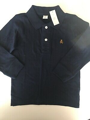 Baby Gap Toddler Kids Boys Navy Blue Knit Long Sleeve Polo Shirt NWT 4T