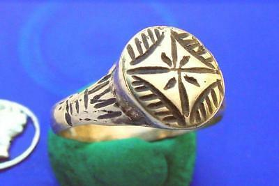 CV Roman Bronze Ring SPINNING DIAMOND-STAR ~ Beautiful Larger size 10 3/4