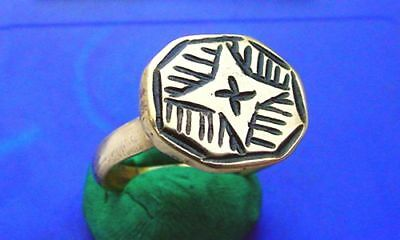 CV Roman Bronze Ring HEAVY DEEP STAR CROSS