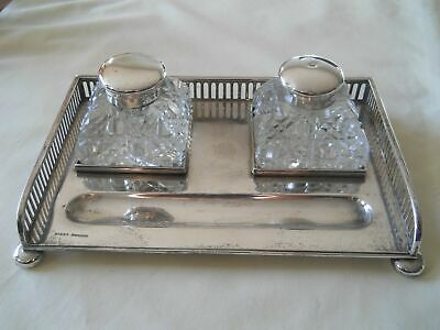 Birks Sterling & Glass Inkwell Inkstand